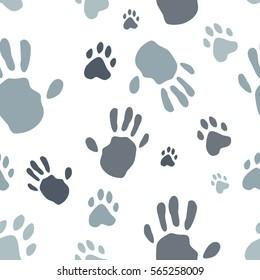 Human hand and dog paw print seamless pattern. Vector seamless