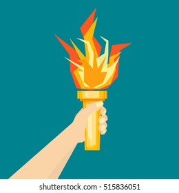 Human Hand with Fire Torch. Flat Style Geometric Design Vector illustration of victory and hornor concept Revolution, sport, olympic flaming, shine symbol
