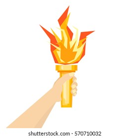Human Hand with Fire Torch on a Ligh Background. Flat Style Geometric Design Vector illustration