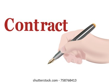 human hand with fountain pen stipulates a contract