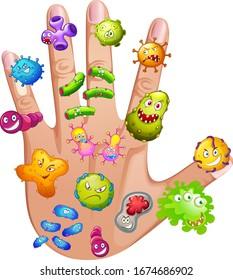 Human hand full of different viruses illustration