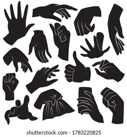 Human hand Gestures. Black vector icons.