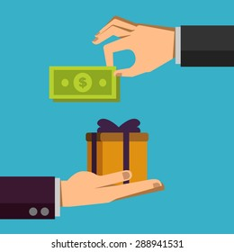 Human hand gives money to another person. Pay for thing, gift. Illustration in flat design style. Finance business concept for presentation, booklet, website etc.