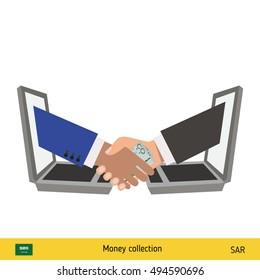 Human hand gives money to another person vector illustration. Saudi Arabian riyal banknote.