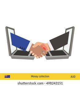 Human hand gives money to another person vector illustration. Australian dollar banknote.
