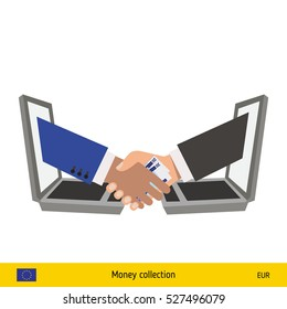 Human hand gives money to another person vector illustration. Euro banknote.