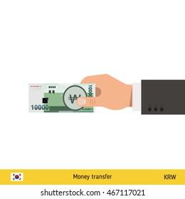 Human hand gives money vector illustration. South Korean won banknote.