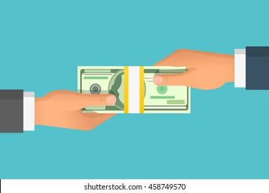 Human hand giving money to other hand. Holding banknotes. Isolated on blue background. Vector illustration