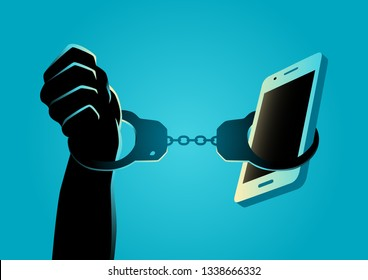 Human hand handcuffed with a smartphone, gadget and technology addiction concept