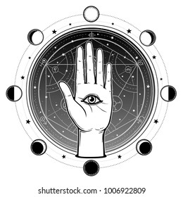Human hand has an all-seeing divine eye. Alchemical circle of transformations. Background - the night star sky, phases of the moon. Vector illustration isolated. Print, poster, t-shirt, card.