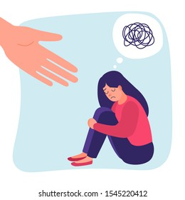 Human hand helps. Sad lonely woman in depression. Anxiety disorder. Insane messy line. Vector help concept. Messy lines stressful girl