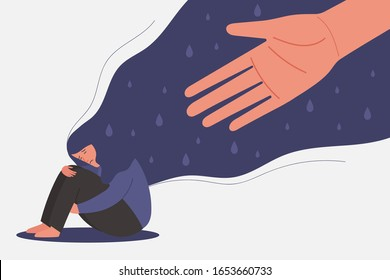 human hand helps sad young girl in depression sitting and hugging knees with flying hair, sorrow, mental health concept, cartoon female character flat vector illustration