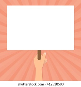 Human hand hold a blank protest signs on orange sun rays background. Vector flat design.