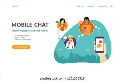Human hand hold a smartphone and sending messages to friends. Flat concept vector website template and landing page design of mobile chat and text conversations