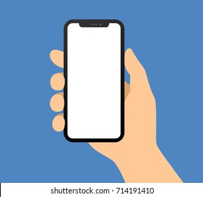Human hand holding bezel-less smartphone / mobile cellular phone flat vector illustration / icon