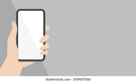 Human hand holding a black smartphone on a gray background. Empty white display mockup vector illustration. Template for using   Mobile phone.