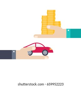 Human hand holding car, other hand gives money.  Flat style. Vector illustration buy or rental car concept design isolated on white background.