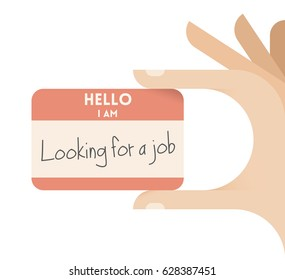 Human hand holding card with text Hello, I am looking for a job. Idea - Job market, Business occupations, professions, public employment service concepts.