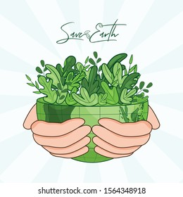 Human hand holding eco half planet on white rays background for Save Earth concept.