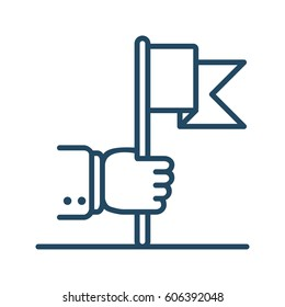 Human Hand Holding Flag vector icon in meaning Achievement