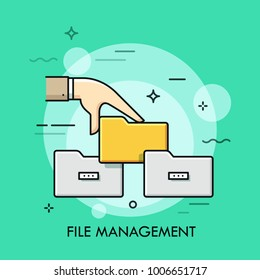 Human hand holding folder symbols. Concept of file management, keeping digital information in order, data storage. Multicolored vector illustration in thin line style for web banner, advertisement.