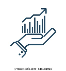 Human Hand Holding Graph vector icon in meaning Data Analysis