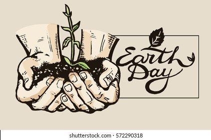 Human hand holding a green sprout. Care and environmental development. Ecology concept. Vector illustration flat design. Earth day