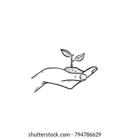 Human hand holding handful of soil with young sprout hand drawn vector outline doodle icon. Hand with sprout sketch illustration for print, web, mobile and infographics isolated on white background.