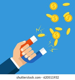 Human hand holding a magnet. Concept of attracting investments. Money, business, success magnet. Flat design, vector illustration