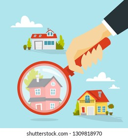 Human hand holding magnifying glass and choose house. Real estate concept. Apartment selection. Isolated vector illustration