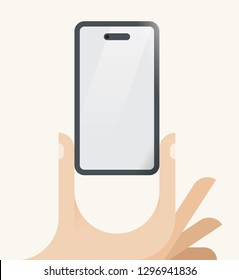 Human hand holding mobile phone with new generation display type monobrow and frontal camera hole. With blank screen for your text. Idea - new screen technologies in cellphones, trends, innovations.