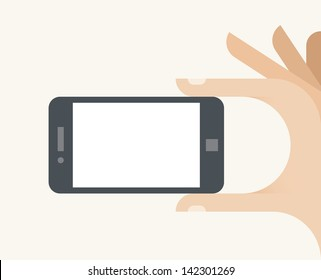 Human hand holding mobile smartphone with blank clear screen - free space for text, infographics, information, advertising, Internet website page, message, photography, map, company address etc.