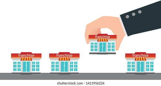 Human hand holding small store or franchise.Franchise business concept vector illustration.