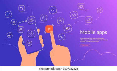 Human hand holding smartphone and choosing a mobile app icon for video streaming and hosting. Gradient line vector illustration of user interface, user experience and various mobile apps usage