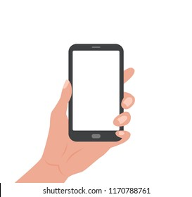 Human hand holding Smartphone with empty screen. Vector colorful illustration in cartoon flat style design template for web, advertising, promotions.