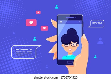 Human hand holding smartphone with female character on screen. Video call, online video chatting, internet technology concept banner. Flat Style vector illustration.