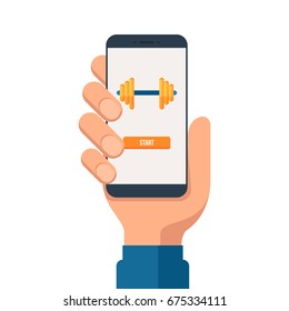 Human hand holding smartphone with gym app on the screen. Mobile fitness app icon. Vector illustration in flat style isolated on white background