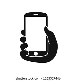 Human hand holding smartphone. Phone holding flat icon - for stock
