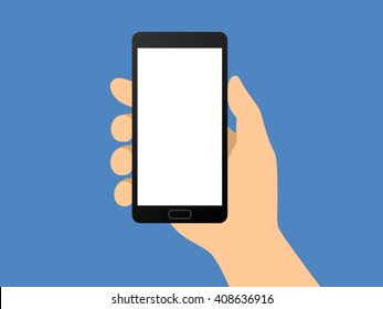 Human hand holding smartphone / smart mobile phone flat vector illustration