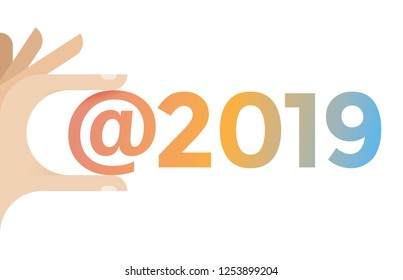 Human hand holding social networking hashtag 2019. New Year eve, social media, technology symbols, communication, online messaging and chats concepts