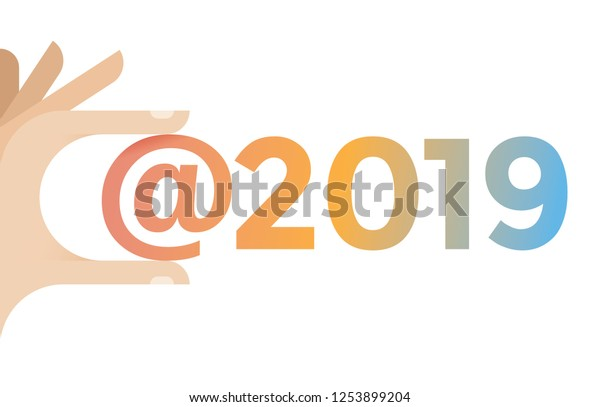 Human Hand Holding Social Networking Hashtag Stock Vector