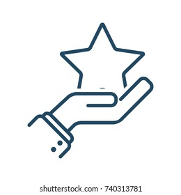 Human Hand Holding a Star vector icon in meaning Favorite