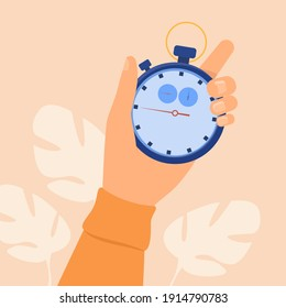 Human hand holding stopwatch. Arrow, clock, meter flat vector illustration. Measurement and time management concept for banner, website design or landing web page