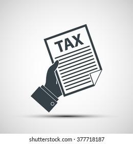 Human hand holding tax declaration. Stock vector illustration.