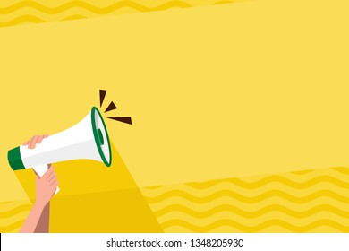 Human Hand Holding Tightly the Megaphone with Volume Icon. Blank Word Space for Announcement and Promotions. Loudhailer Grasp by Person with Sound and Empty Room for Text Graphics.