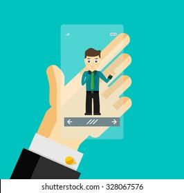 Human hand holding transparent screen smartphone with virtual assistant - businessman. Hi-tech flat design concept