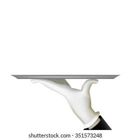 Human hand holding a tray. Waiter. Stock vector illustration.