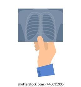 Human hand holding x-ray image. Medicine and healthcare flat concept illustration. Hand, lung radiography. Vector design element for medical, anatomy, surgery, and xray infographic.