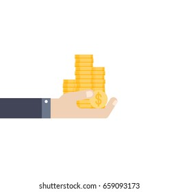 Human hand holds coins. Flat style. Vector illustration isolated on white background.