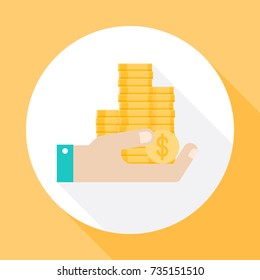 Human hand holds coins. Icon vector with long shadow. Flat design style.